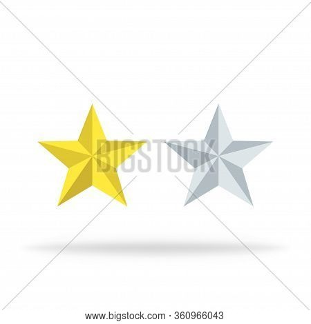 Stars Of Rating. Review Icons In Yellow Or Gold. Vector Isolated Icons With Ranking Symbol. Success