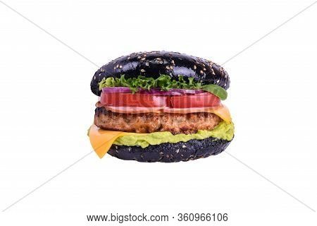 Black Burger With Chicken Meat, Ham, Tomato, Guacamole, Cheddar, Pickled Onions, Lettuce Mix, Dorblu