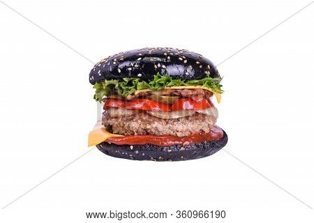 Black Burger With Pork And Beef Meat, Bacon, Cheddar, Pickled Cucumber, Bulgarian Pepper, Grilled On