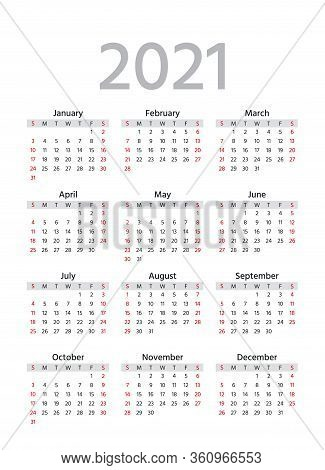 2021 Calendar. Week Starts Sunday. Simple Year Template Of Pocket Or Wall Calenders. Yearly Organize