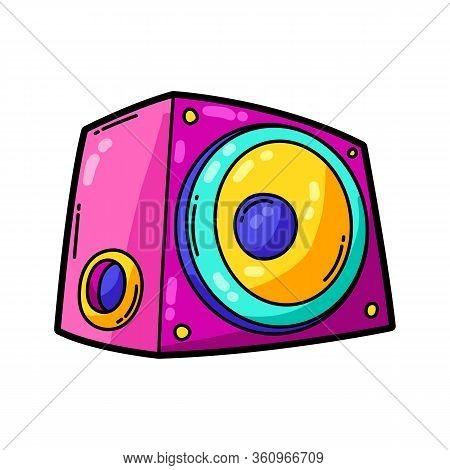 Illustration Of Cartoon Musical Subwoofer. Music Party Colorful Teenage Creative Image. Fashion Symb
