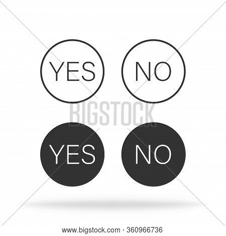 Yes Or No Text Icon. Correct Or Incorrect Set. Vote Symbol. Positive Or Negative Result. Ok Or Bad I