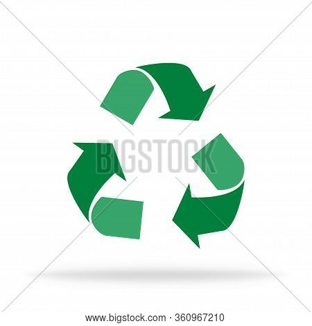 Recycle Isolated Icon. Recycling Trash To Care About World Logo. Waste Garbage Safely. Triangle Arro