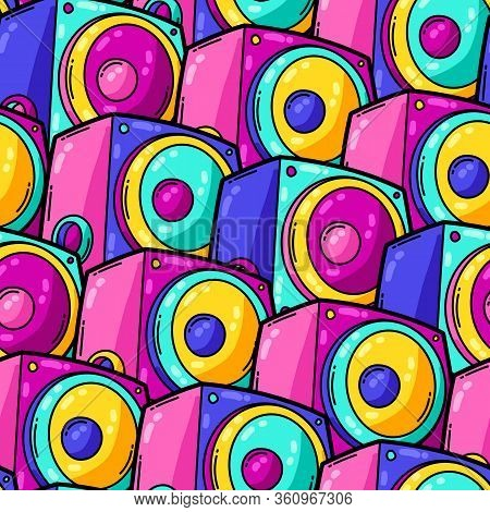 Seamless Pattern With Cartoon Musical Subwoofers. Music Party Colorful Teenage Creative Illustration