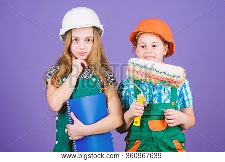 Kids Choosing Paint Colour For Their New Room. Kids Girls Planning Renovation. Children Sisters Run