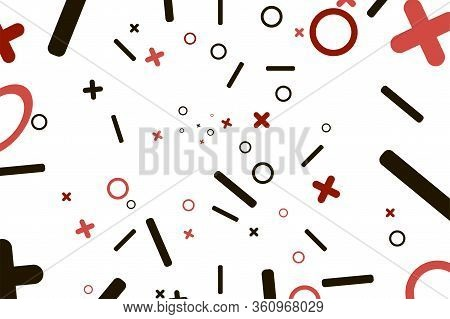 Chaos Vector Illustration With Circles And Cross. Pattern For Background. White Color Abstract Patte