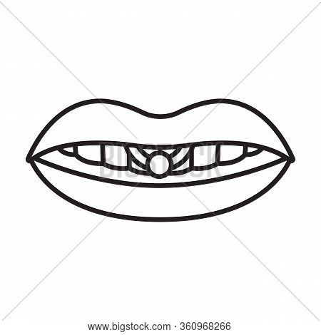 Piercings Of Tongue Vector Icon.outline Vector Icon Isolated On White Background Piercings Of Tongue