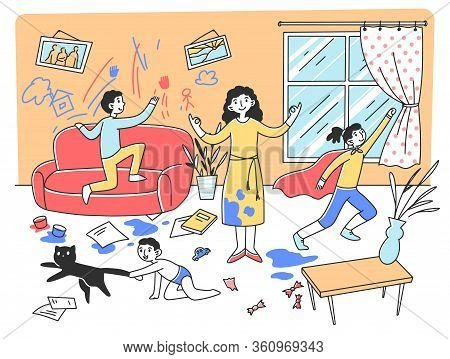 Calm Mother Meditating In Chaos Flat Vector Illustration. Mischievous And Naughty Children Playing A