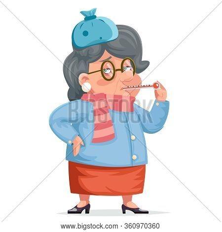 Sick Grandmother Flu Woman Granny Character Adult Cartoon Design Vector Illustration
