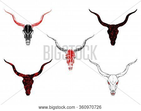 Vector Set Of Hand Drawn Skulls Antelope With Grunge Elements In Different Versions On A White Backg