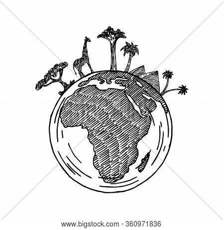 African Continent On The Globe. Animals And Plants Of Africa. Vector Map Of Africa