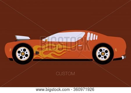 Muscle Car, Flat Design Style, Vector, Side View, Flat Design Style, Fully Editable