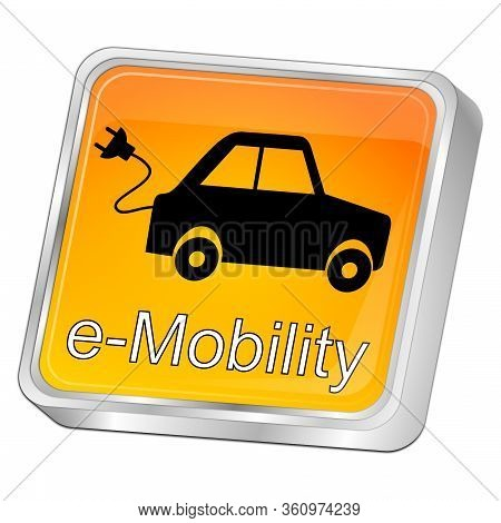 Orange E-mobility Button On White Background - 3d Illustration