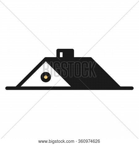 Vector Illustration Of A Home Logotype In A Form Of An Attic. It Represents A Concept Of Household,