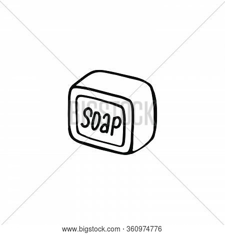 A Hand-drawn Bar Of Soap Isolated On A White Background. Vector Illustration In The Doodle Style. Na