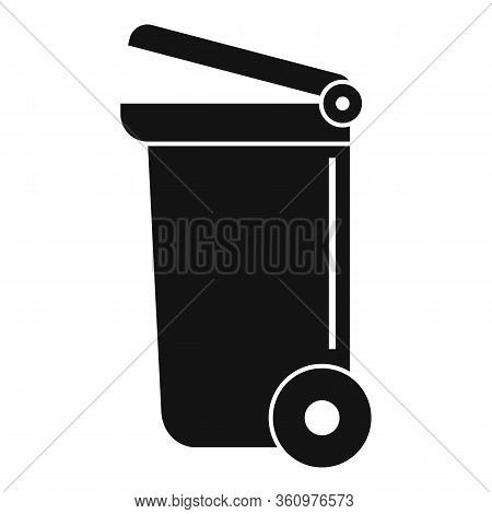 Wheel Garbage Container Icon. Simple Illustration Of Wheel Garbage Container Vector Icon For Web Des