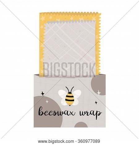 Zero Waste Lifestyle Elements - Beeswax Wrap. Vector Cute Illustration. Reusable And Recyclable Eco