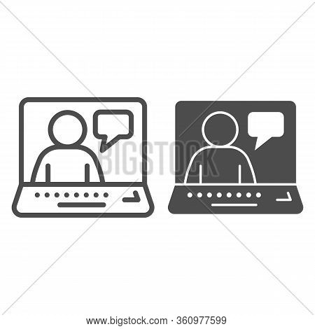 Online Job Interview Line And Solid Icon. Video Conference With Candidate Outline Style Pictogram On