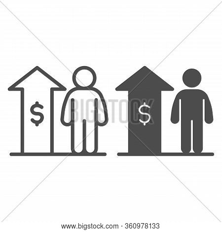 Raise Employee Salary Income Line And Solid Icon. Upward Arrow With Dollar And Person Outline Style