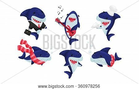Blue Toothy Cartoon Shark Playing Guitar And Wearing Office Suit Vector Set