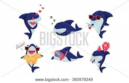 Cartoon Toothy Shark Snorkeling And Drinking Cocktail Vector Set