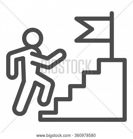 Career Staircase Line Icon. Climbing Man To Success On Top Of Flag Pedestal Outline Style Pictogram