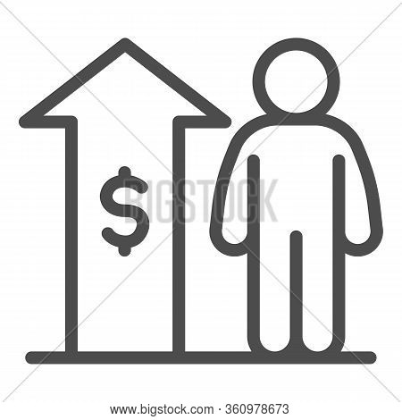 Raise Employee Salary Income Line Icon. Upward Arrow With Dollar And Person Outline Style Pictogram