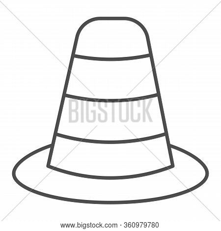 Cone Divider On The Road Thin Line Icon. Traffic Cone Outline Style Pictogram On White Background. E