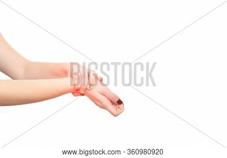 Female Hand With An Inflamed Joint On A White Background. The Concept Of Joint Aches, Pain And Infla
