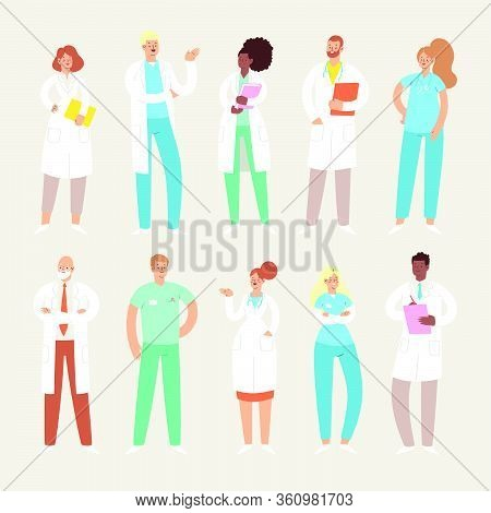 Set Of Various Male And Female Medicine Workers. Group Of Hospital Medical Specialists Standing Toge
