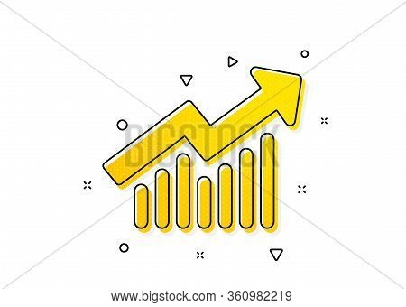 Report Graph Or Sales Growth Sign. Chart Icon. Analysis And Statistics Data Symbol. Yellow Circles P