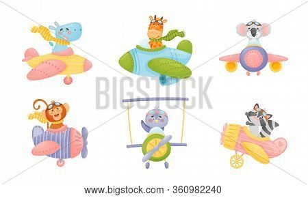 Cute Animals Wearing Aviator Goggles Flying An Airplane With Scarf Fluttering Behind Vector Set