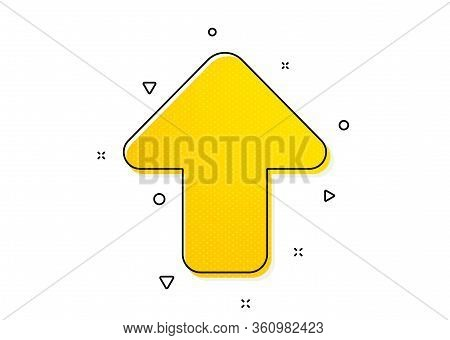 Direction Arrowhead Symbol. Upload Arrow Icon. Navigation Pointer Sign. Yellow Circles Pattern. Clas