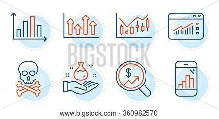Diagram Graph, Chemical Hazard And Graph Phone Signs. Upper Arrows, Chemistry Lab And Currency Audit