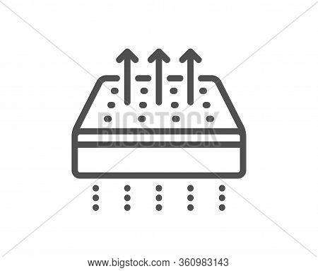 Breathable Mattress Line Icon. Orthopedic Pad Sign. Air Flow Sleep Bed Symbol. Quality Design Elemen
