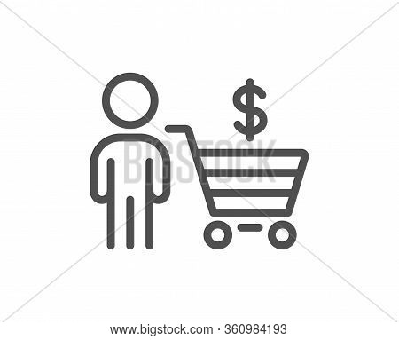 Buyer With Shopping Cart Line Icon. Customer Sign. Supermarket Client Symbol. Quality Design Element