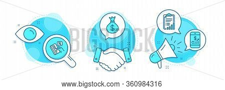 Money Bag, Mobile Finance And Checklist Line Icons Set. Handshake Deal, Research And Promotion Compl