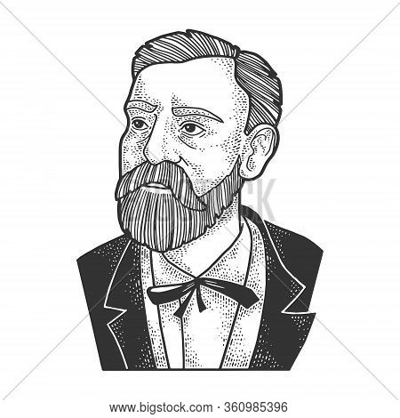 Alfred Nobel Portrait Sketch Engraving Vector Illustration. T-shirt Apparel Print Design. Scratch Bo