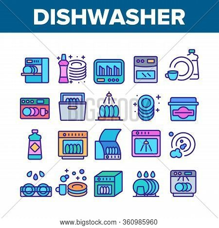 Dishwasher Utensil Collection Icons Set Vector. Dishwasher Equipment And Cleaning Liquid Bottle For