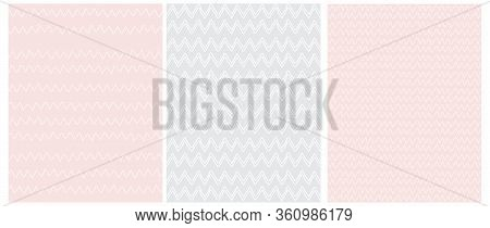 Chevron Seamless Vector Patterns. 3 Various Chevron Print. White Zig Zags Isolated On A Light Pink A