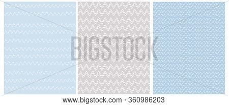 Chevron Seamless Vector Patterns. 3 Various Chevron Print. White Zig Zags Isolated On A Light Blue A