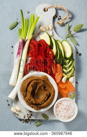 Homemade Stock In Bouillon Cube With Fresh Vegetables. Healthy Cuisine