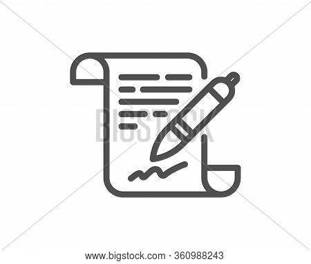 Agreement Document Line Icon. Contract File Signature Sign. Office Note Symbol. Quality Design Eleme
