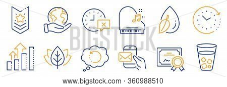 Set Of Business Icons, Such As Messenger Mail, Time. Certificate, Save Planet. Time Change, Piano, W