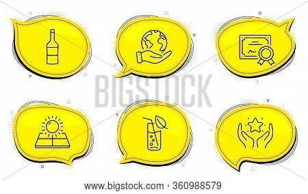 Ranking Sign. Diploma Certificate, Save Planet Chat Bubbles. Wine, Sun Energy And Water Glass Line I