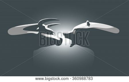A Vector Illustration Of Two Castings Depicting A Stylized Bull Opposing A Bear In Dramatic Light Re