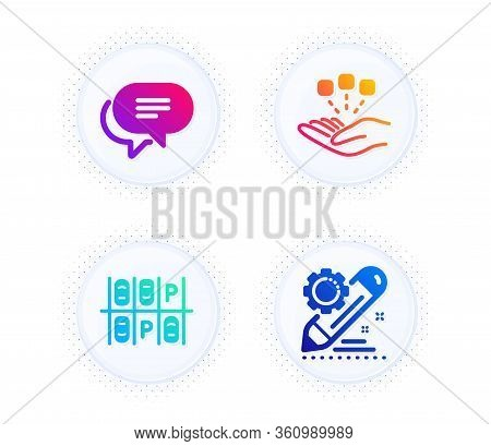 Text Message, Consolidation And Parking Place Icons Simple Set. Button With Halftone Dots. Project E
