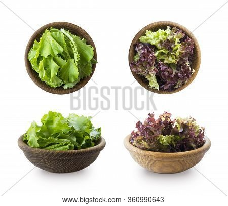 Young Lettuce Leaves In Wooden Bowl. Top View. Lettuce Isolated On A White Background. Green And Red