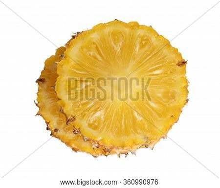 Pineapples Fruit Sliced Isolated On The White Background. Slice The Ananas Into Circle 2 Pieces Stac