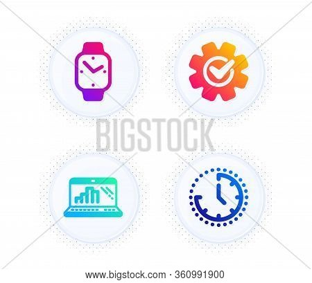 Graph Laptop, Cogwheel And Smartwatch Icons Simple Set. Button With Halftone Dots. Time Sign. Mobile